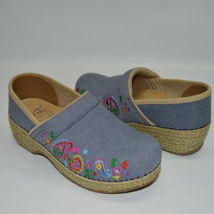 Dansko Vegan Denim Embroidered Espadrilles Clog 36